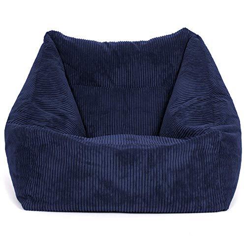 """icon Übergroßer Sitzsack-Sessel """"Morgan"""", Cord, Sitzsäcke für das Wohnzimmer, Schlafzimmer, Sitzsäcke für Erwachsene (Marinblau)"""