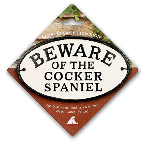 Aimant en Acier Et Signe Beware of The Cocker Spaniel Ovale en Fonte