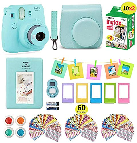 Fujifilm Instax Mini 9 Camera Bundle (Ice Blue) + Instant Camera Film 20 Sheets + Instax Case + Instax Camera Accessories Bundle, 1 Albums, 4 Color Lenses, Selfie Lens, 5 Desk Frames + 60 Stickers