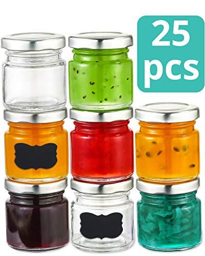 Praknu 25 Mini Gläser 50ml mit Deckel, Etiketten - Luftdichte Gläschen zum Verschenken