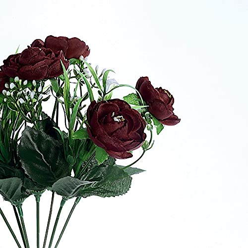 BalsaCircle 4 Burgundy 12-Inch Tall Silk Peony Bushes Artificial Flower Bouquets Wedding Party Events Reception Decorations Supplies Supplies