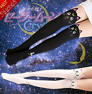 2 PCS Sailor Moon Anime Artemis Stocking Tights Legging Socks black,white