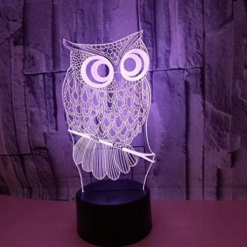 Lámpara de escritorio l.w.s Lámpara de mesa búho de dibujos animados lámpara LED degradado colorido 3D estéreo táctil remoto USB luz de noche mesita de noche decoración inimaginable regalos de cumplea
