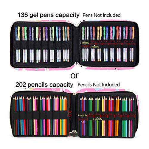 Pencil Case Holder Slot - Holds 202 Colored Pencils or 136 Gel Pens with Zipper Closure - Large Capacity Pen Organizer for Watercolor Pens or Markers -Perfect Gift for Artist Pinkhorse Photo #4