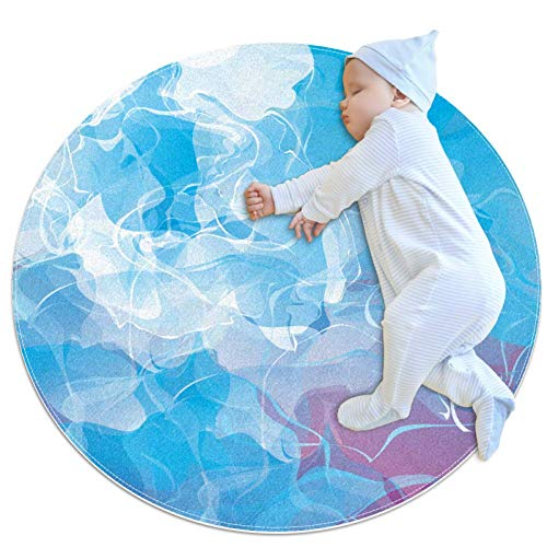 Carpet Blue Powder Smoke B2 Nursery Round Rug for Kids Room Soft and Smooth Suede Surface Non-Slip Castle Tent Game mat Best Gift for Your Kids 2feet 3.5inch