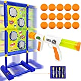 Trsmima Shooting Game Toy Set, Fun Moving Shooting Game with a Foam Ball Popper Air Toy Gun and Electronic Running Standing Shooting Target & 15 Foam Balls, Ideal Gift for Boys and Girls ages 5 and up