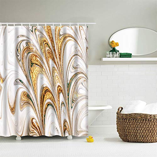 Eleroye 72 x 72 inches Shower Curtain Marble Pattern Ink Texture Splash Gold Brown Peacock Feather Machine Washable Fabric Bathroom Decor Set with Hook Bath Curtain