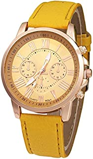 TOOGOO Faux Leather Strap Wrist Watch(yellow)