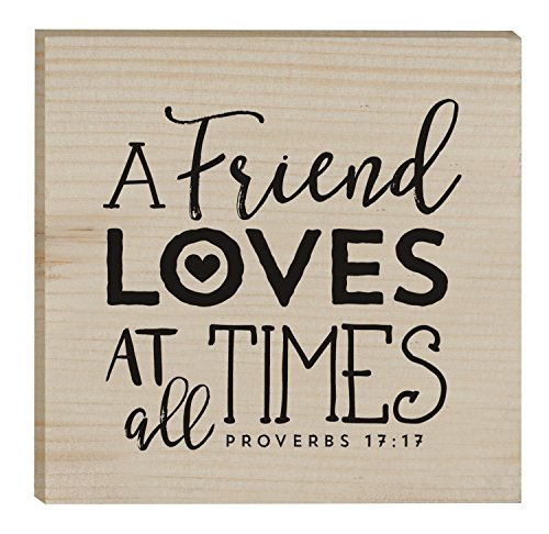 A Friend Loves At All Times 3 x 3 Inch Solid Pine Wood Rustic Magnet