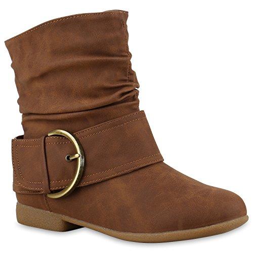 Damen Schlupfstiefel Wildleder-Optik Stiefel Schnallen Boots Stiefeletten Schuhe 130719 Hellbraun Braun Gold 38 Flandell