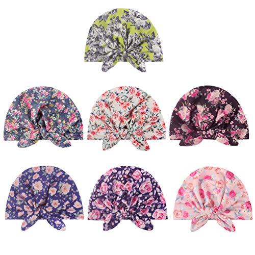 TOYANDONA 7 Pièces Bébé Bonnet Chapeau Haut Floral Noué Coton Turban Bonnet de Sommeil Extensible Cheveux Wrap Casquettes pour Bébé Nouveau-Né Infantile