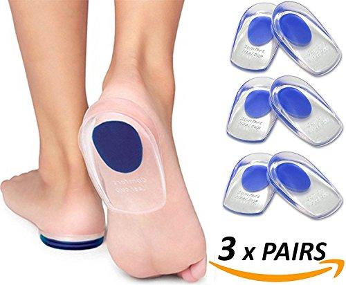 3 Paar Fußpolster & -pads Feet Komfort Gel Fersenkissen - Medizinischem Silikon Fersenpolster Fersensporn Gelkissen Geleinlagen Fersenstütze Achillessehne Heel (11*6.9cm)