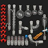 Lchzl 29pcs / Set Aparato de destilación de Vidrio de Laboratorio del Kit del Laboratorio de Química de Cristal Destilación La destilación Aparato 24/29