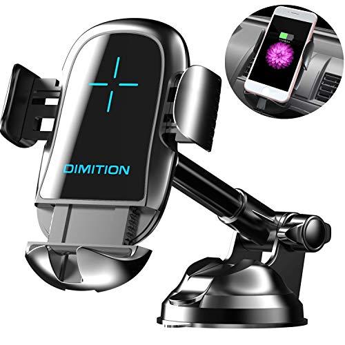 Dimi Handyhalter Fürs Auto, Automatisches Spannen handyhalterung auto handyhalter Handyhalterung Kfz-Ladegerät Kompatibel Mit iPhone XS Max R X 8 Plus 7 Plus 6S Samsung Galaxy S9 S8 Edge S7 S6 LG