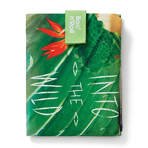 Roll'eat - Boc'n'Roll | Emballage Sandwich & Nourriture Écologique pour Jeune - Réutilisable, Ajustable, Lavable - Motif Jungle, Nature - Couleur Vert - Sans BPA - 11x15 cm (ouvert), 54x32 (fermé)