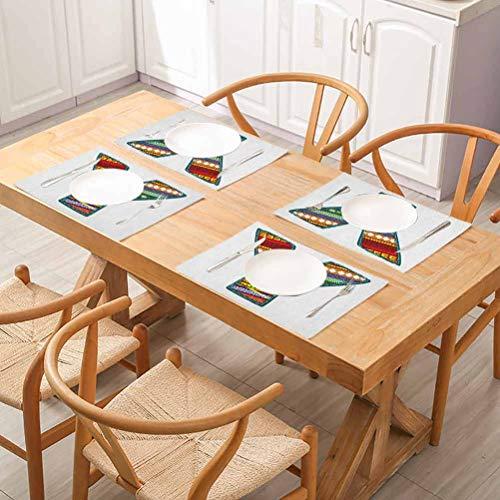 FloraGrantnan Lot de 10 sets de table rectangulaires lavables Lettre Y Alphabet Art avec hiver/vif, faciles à nettoyer