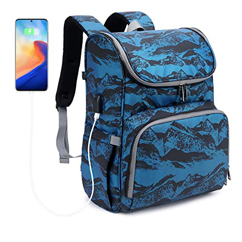 Diaper Baby Travel Bag Backpack,Large Full Zip Maternity Nappy Bag Multifunction Waterproof Travel Back Pack with Changing Pad for Mom Dad - Design for Baby Boys Girls (Printed Blue)