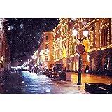 YongFoto 1,5x1m Fotografía Fondo para Invierno Ciudad Europea Farola Edificio de Arco La caída de Nieve Banco Patio de butacas Foto Fondo de Invierno para la fotografía Navidad Año Nuevo Partido Foto