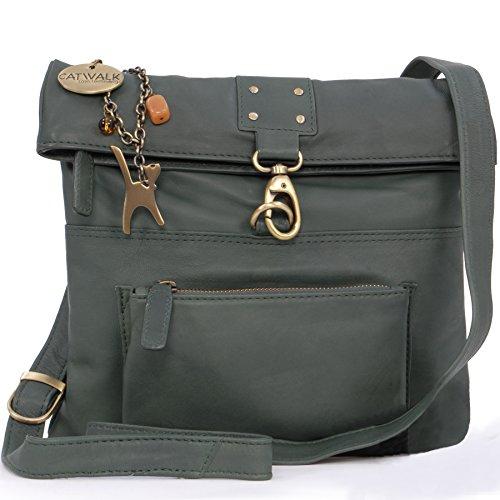 Catwalk Collection Handbags - Leder - Damen Leder Umhängetasche/Handtasche/Messenger/Schultertasche - DISPATCH - Dunkelgrün