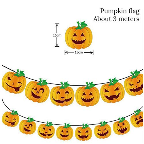 CTOBB Halloween Decoratie LED Papier Lantaarn Zwart Oranje Tissue Bloem Pompoms Bal Halloween Party Banner Pumpkin Bat Balloon Supply, Kleur, 1 stks banner
