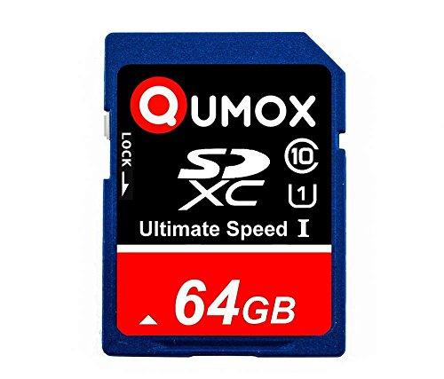 QUMOX 64GB SD XC 64 GB SDXC Class 10 UHS-posso rendere sicuro scheda digitale di memoria HighSpeed Velocità di scrittura 50 MB / s Velocità di lettura fino a 80 MB / S