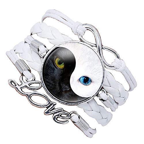 Pulsera de mujer – Pulsera – Yin Yang – Gato – Tao – Love – Trenzado – Color blanco – Amor – Multifilamento