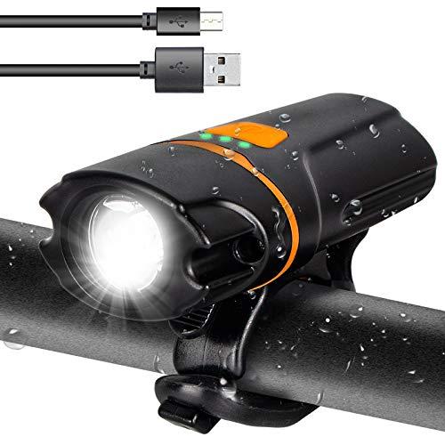 TINHAU Fahrradlicht Vorne, Fahrradbeleuchtung, Fahrradlicht USB 1200mAh Wiederaufladbares Frontlichter, 4 Beleuchtungsmodi, IP64 Wasserdichtes Fahrrad Licht
