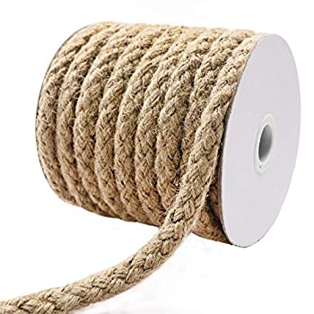 Tenn Well Braided Jute Rope 25 Feet 11mm Thick Jute Cord for Crafting Cat Scratching Gardening Bundling and Macrame Projects