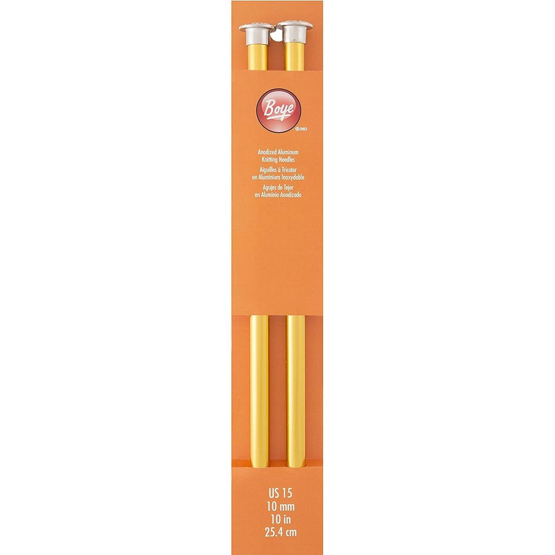 Boye 10-Inch Aluminum Single Point Knitting Needles, Size 15