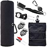 Golf Towel and Tool Accessories Bag KIT - Comes with a Golf Towel, Golf Club Cleaner, Divot Repair Tool, Golf Club Brush , Golf Ball Marker. This are The Perfect Golf Accessories for Men and Women.