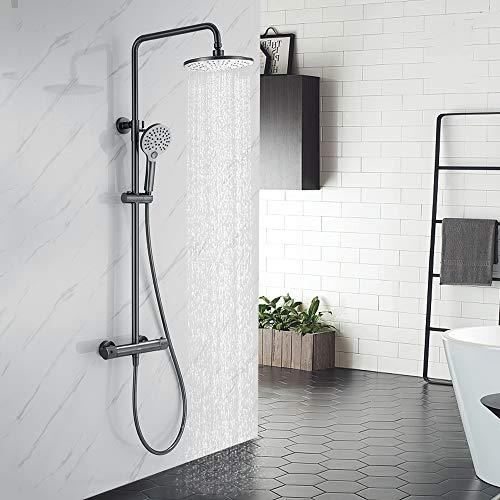 AiHom Duschsystem mit ThermostatDuschset Regendusche Duscharmatur mit 40℃ Sicherheitssperre für Badezimmer Inkl. Duscharmatur Regendusche Handbrause mit schlauch, Grau Matt