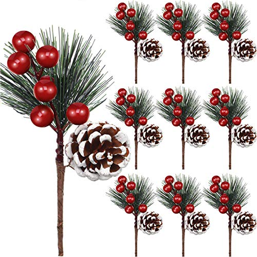 Artificial Pine Pick Artificial Pine Tree Decorations Fake Pinecone Red Berries Branches for Christmas Flower Arrangements Wreaths and Holiday Decorations (10 Pieces)