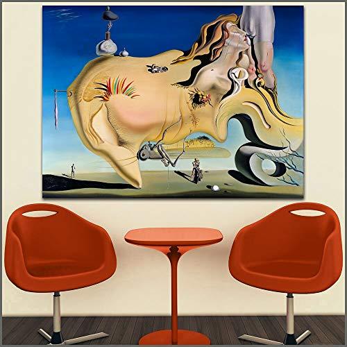 hetingyue Grande Taille Artiste de Gravure Grande Masturbation Toile Artiste de Gravure décoration de la Maison Salon Moderne Peinture à l'huile sans Cadre Peinture 75X100 CM