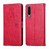 Coque pour Huawei P30 6.1inch Portefeuille, Housse en Cuir avec Porte Carte Fermeture par Rabat Aimanté Antichoc Étui Case pour Huawei P30 - DEYH210360 Rouge