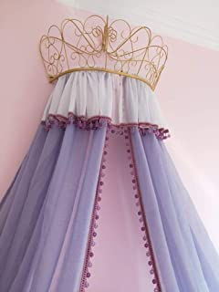 HOMEJYMADE Linen Princess Crown Bed Canopy,Reading Nook Tent Dome Mosquito net for Kids Crystal Beads Curtain Gray-Purple-B