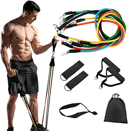 ALOPEX Exercise Resistance Bands Set, 11 Pack Fitness Stretch Workout Bands with 5 Stackable Exercise Bands, 2 Foam Handles, 2 Ankle Straps, Door Anchor for Home Workouts,Gym Training,Yoga