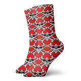 BJAMAJ Unisex-Socken mit Totenkopf, roter Hintergr&, interessantes Polyester, Crew-Socken für Erwachsene, Baumwolle