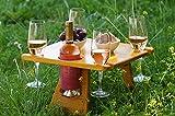 Botellero de madera para picnic, mesa de picnic, para cuatro personas, con...