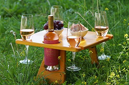 Weintisch-für Vier Personen, Picknicktisch mit bequemer Koffer, Gartentisch, Wein Geschenk Idee, Campingtisch Outdoor Tisch, Camper, Wanderer, Outdoor begeisterte, Weinliebhaber, Weinregal Holz
