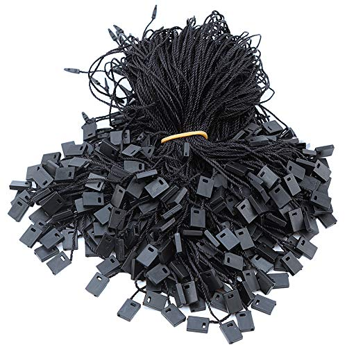 950pcs Hang Tag Polyester String Snap Lock Pin Loop Fastener Hook Ties Easy and Fast to Attach, 7 Inch Long Block (Black)