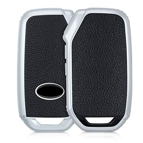 kwmobile Autoschlüssel Hülle kompatibel mit Kia 3-Tasten Smart Key Autoschlüssel - Schlüsselhülle Cover Silber Schwarz