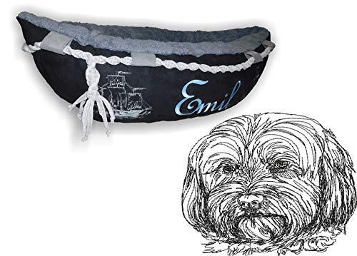 LunaChild Hundebett Hund Boot Böötchen Löwchen 2 Hundeboot Sofa Lounge Hundelounge mit Name Wunschname Snuggle Bag Größe XS S M L viele Farben Hundekorb