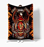 Heroes are Courage Sacrifice Honor Firefighter Fleece Blanket Size |30x40| |50x60| |60x80| Best for Home Bed Sofa Decorations and Gift