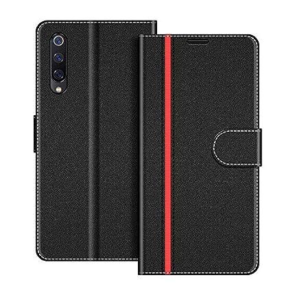 COODIO Funda Xiaomi Mi 9 Se con Tapa, Funda Movil Xiaomi Mi 9 Se, Funda Libro Xiaomi Mi 9 Se Carcasa Magnético Funda para Xiaomi Mi 9 Se, Negro/Rojo