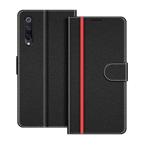 COODIO Handyhülle für Xiaomi Mi 9 SE Handy Hülle, Xiaomi Mi 9 SE Hülle Leder Handytasche für Xiaomi Mi 9 SE Klapphülle Tasche, Schwarz/Rot