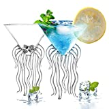 HOMEACC Octopus Cocktail Glass Set of 2,Transparent Martini Glass Creative Jellyfish Glass Cup Juice Glass Great for Whiskey/Margarita For Kitchen Bar Party Wedding
