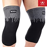 Mava Sports Knee Compression Sleeve Support for Men and Women. Perfect for Powerlifting, Weightlifting, Running, Gym Workout, CrossFit, Squats and Pain Relief (Gray, Large)
