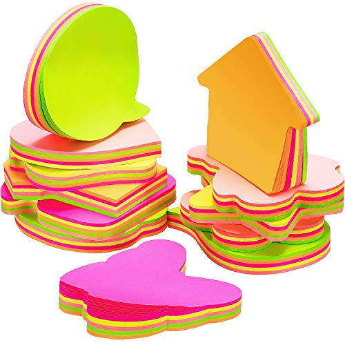 12 Pads Sticky Notes Set, Colorful Self Sticky Notes in Different Shapes, Creative Self-Stick Notes, 3 x 3 Inch, 100 Pieces/Pad