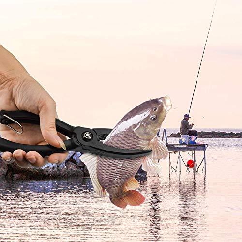 Pinza de Pesca,Alicates de Pesca alicates de Agua Salada Alicates de Pesca Pinza de Pesca Herramienta de Engranaje ABS Grip Tackle Fish Lip Holder Trigger Clamp with Ring