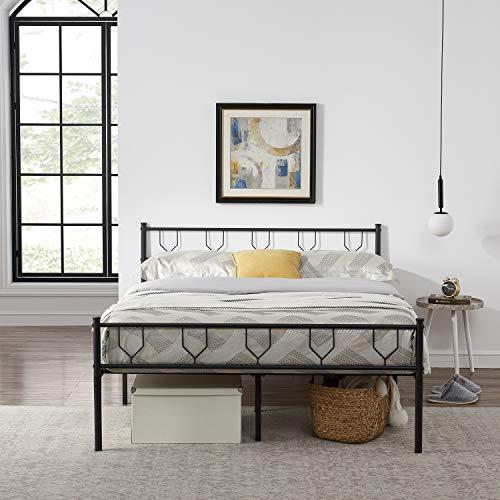 Symylife Lit Double en métal à Motif Verre de vin Cadre de lit Double avec Lattes Solides et Structure en métal 140x190cm, Noir